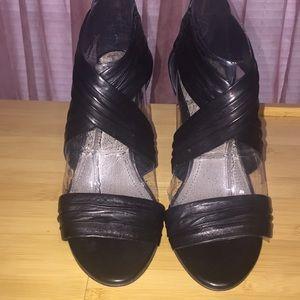 Black criss-cross heel